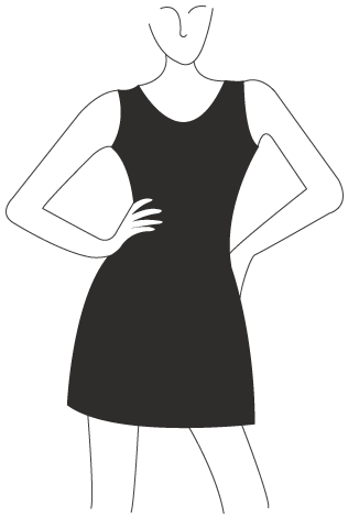 Line drawn illustration of a woman wearing a black dress.