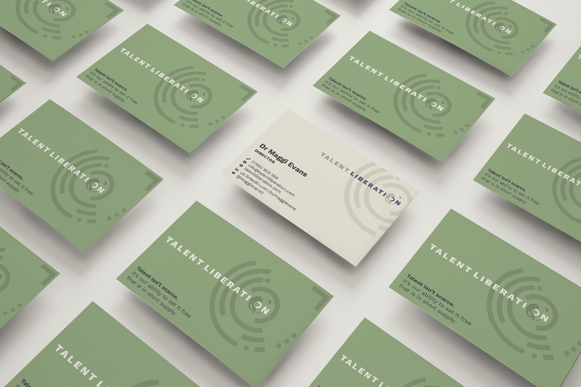 Business cards for Talent Liberation.