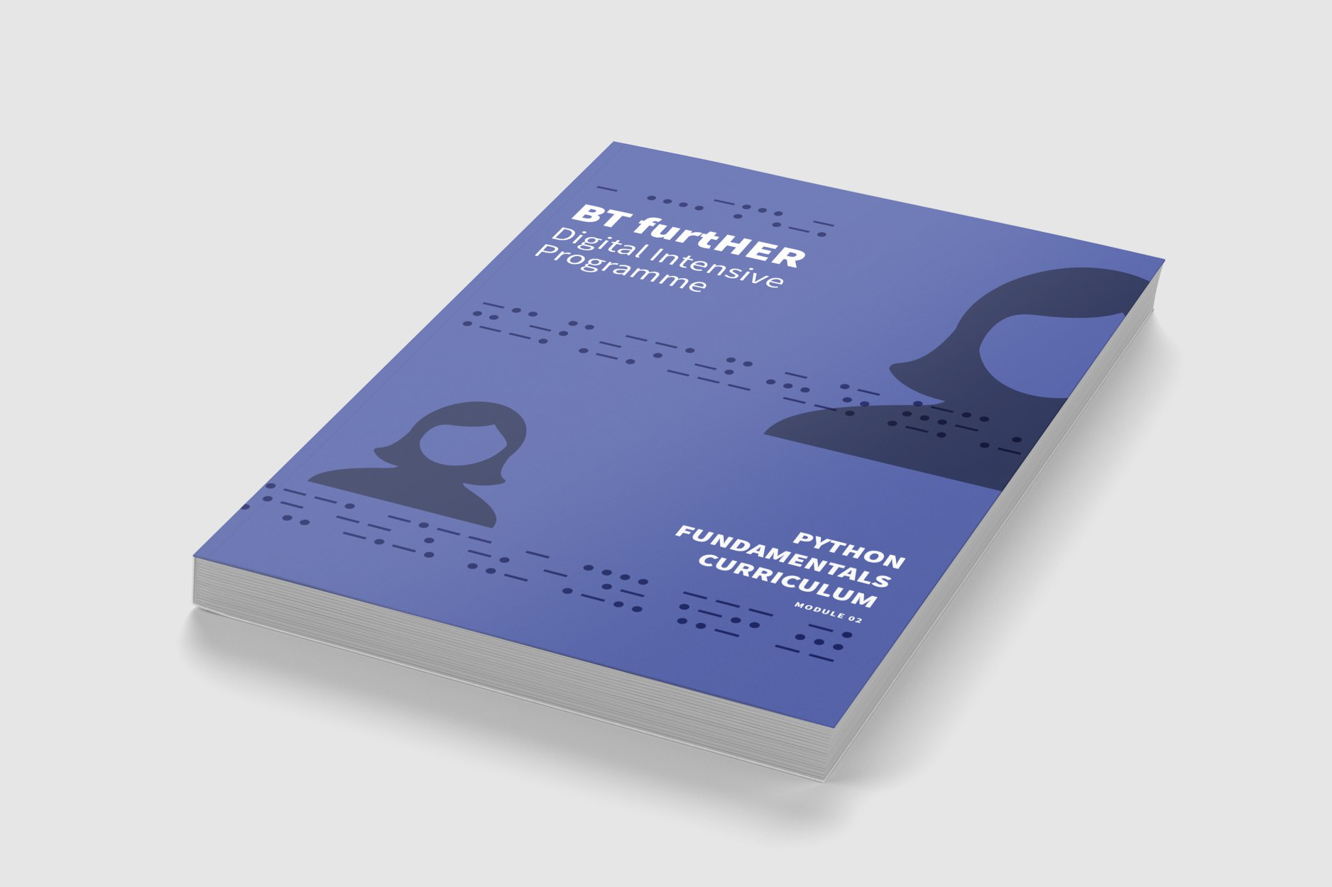 Book cover design for the Python Fundamentals Curriculum book from the BT furtHER Digital Intensive Programme.