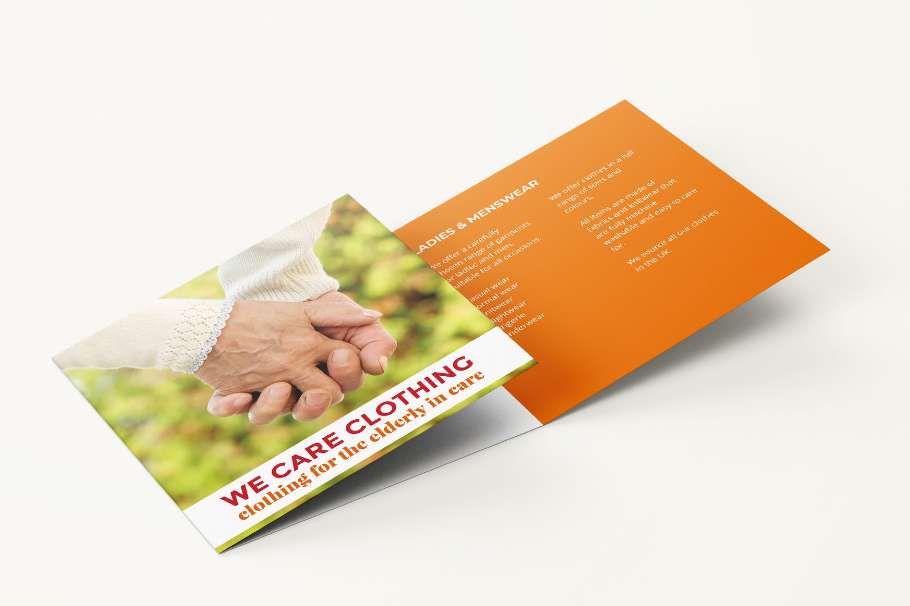 Information leaflet for We Care Clothing.