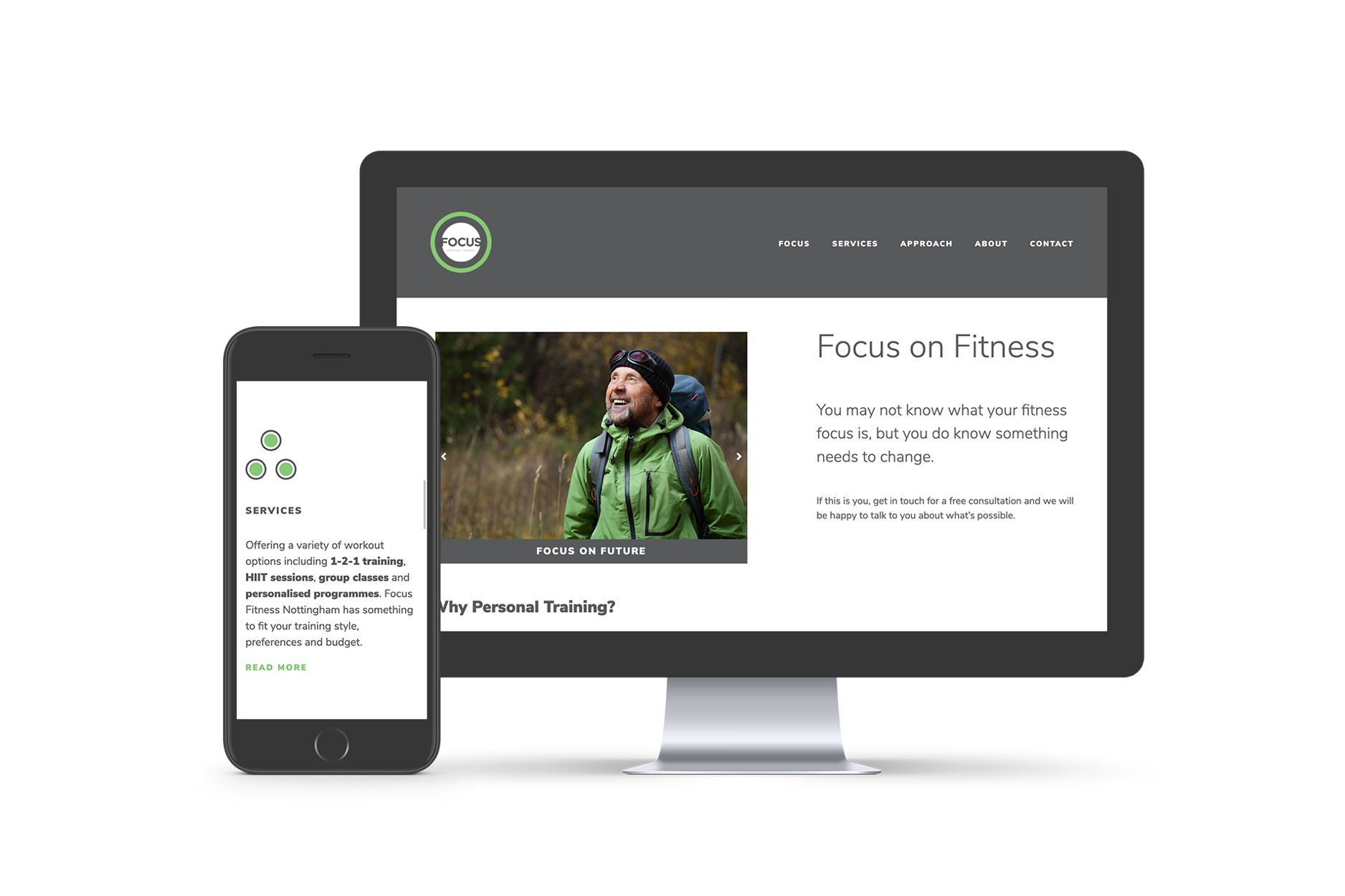 The Focus on Fitness website displayed on an iMac and an iPhone.