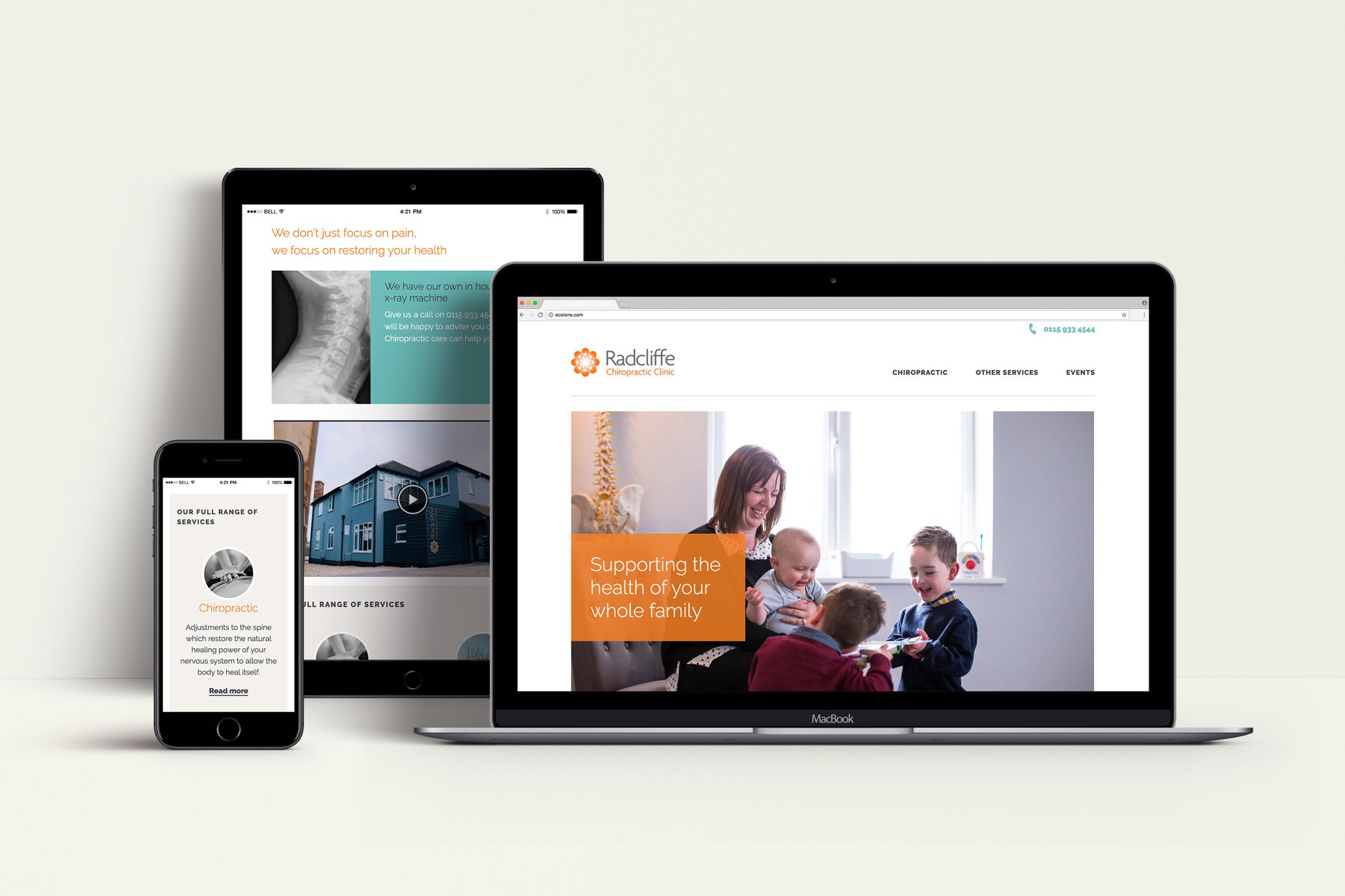 The Radcliffe Chiropractic website displayed on a MacBook, an iPad and an iPhone.